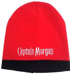 501e0761d49 Captain Morgan Beanie Hat Knit Cap Red Embroidered Spell Out OSFA ...