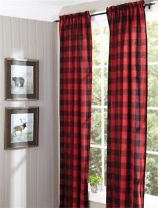 Buffalo-Check-Lined-Panels-Drapery-Curtains-Pair-72-034-x-84-034-Park-Designs-Plaid