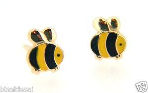 9ct Yellow Gold Small Enamel Bumble Bee Studs Earrings Kids Girls B'Day GIFT BOX