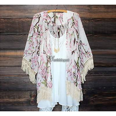Women New Loose Lace Floral Printed Chiffon Kimono Cardigan Jacket Coat Blouse