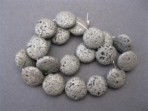 1 strang lavaperlen vitre noir 20mm perles 9897