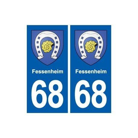 68 Fessenheim blason autocollant plaque stickers ville droits