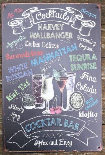 Cocktail metal tin sign vintage cafe pub bar retro plaque kitchen cocktail bar