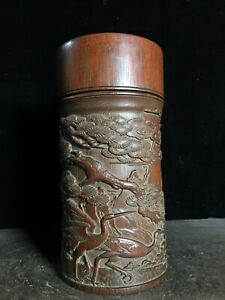 Exquisite carved pine tree & crane statue bamboo Tea Caddies tea canister caddy