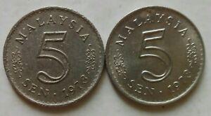 Parliament Series 5 sen coin 1973 2 pcs