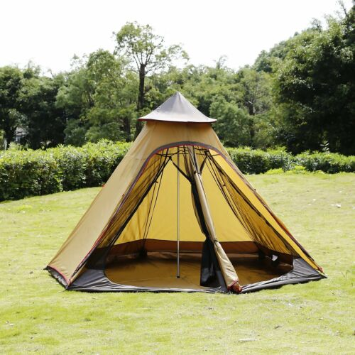 4-Person Mesh Teepee Tent 10ft Waterproof Double-Layer Yurt Family Tent Glamping