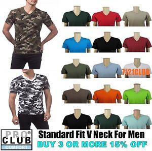 PRO-CLUB-V-NECK-T-SHIRTS-MENS-CAMO-PLAIN-SHIRT-PROCLUB-SHORT-SLEEVE-BIG-AND-TALL
