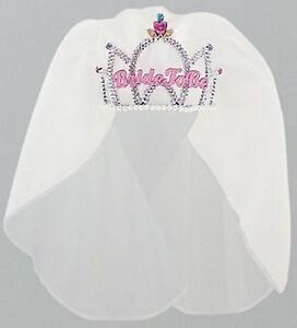 Hens-Night-Bride-to-Be-Party-Supplies-034-Bride-to-Be-034-Tiara-with-Veil
