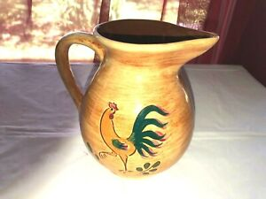 Vintage-Pennsbury-Rooster-Pitcher-6-034-tall-Green-Tail