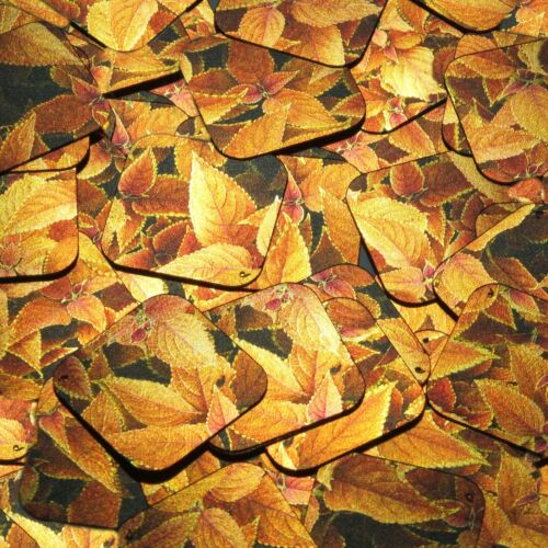 "Square Diamond Sequin 1.5"" Gold Orange Coleus Foliage Leaf Metallic"