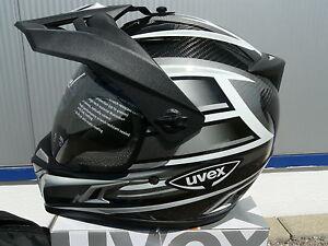 Motorradhelm-Uvex-Enduro-3-in-1-Carbon-silber-shiny-Groesse-L-Neu-OVP