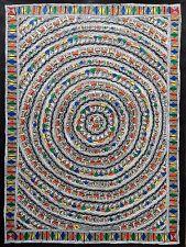 """GRANDE 30"""" madhubani mithila DIPINTI """"cerchio della vita"""" fatto a mano INDIANO Folk Art"""