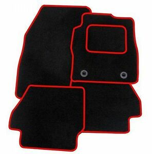 Ford-Focus-ST-2005-Tailored-Black-RED-TRIM-Car-Floor-Mats-Carpets-Clips