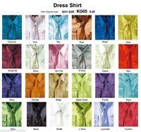 Kid's & Boy's Shiny Satin Casual Dress Shirts Set W/tie & Hanky Long Sleeve Kg05