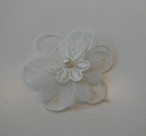Small Light ivory OR blue floral beaded lace applique floral beads lace motif