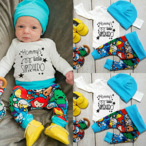 US Newborn Baby Boy Girls Tops Romper T-shirt Pants Leggings Outfit Clothes 3PCS