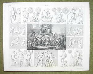 MOUNT-PARANSSUS-Gods-Dionysian-Mysteries-Faunus-1844-SUPERB-Engraving-Print
