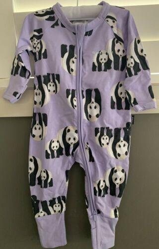 BONDS Baby Sleep Suit {GIRLS PURPLE PANDA ZIP WONDERSUIT} Size 00