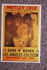 Motley Crue Concert Tour Poster 1987 Los Angeles Coliseum Guns n' Roses