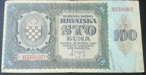 CROATIA NDH 100 Kuna Banknote, 1941