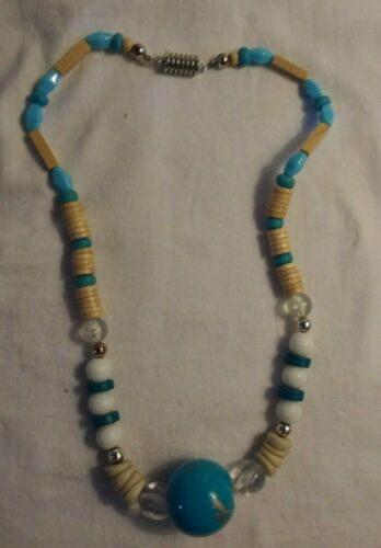 Vintage Statement Necklace Wood & Plastic Beads Mi