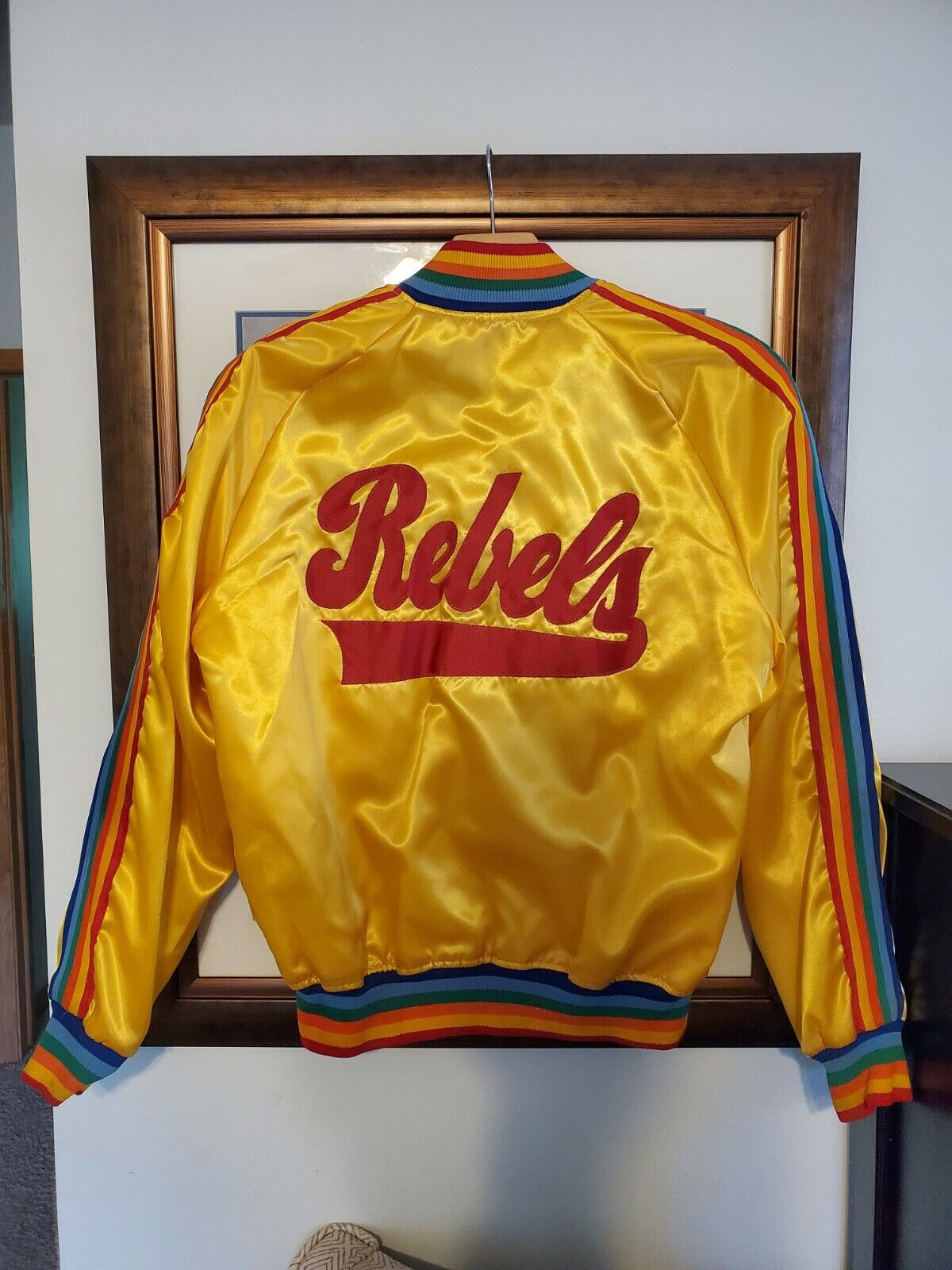 VTG 60s 70s Rebels Satin Rainbow Rock Tour Jacket - Large