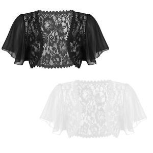 cddf360f2d8ec Womens Short Bell Sleeve Lace Shrug Bolero Ladies Cropped Cardigan ...