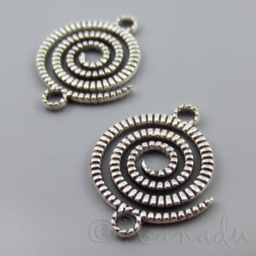 20 Or 50PCs 22mm Antiqued Silver Pendants C2757-10 Spiral Connector Charms
