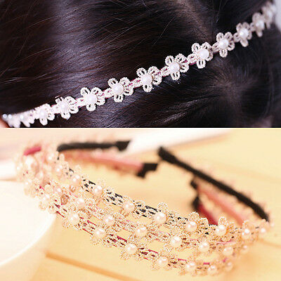 New Hot Sweet lady Beige hair band pearl Flower women Lace headband accessories