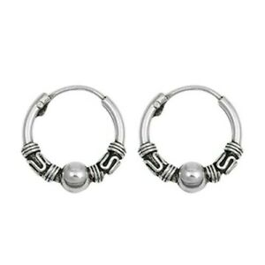 Bali-Hoop-Earrings-Genuine-Sterling-Silver-925-Diameter-12-mm-Thickness-2-mm