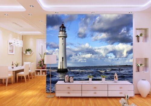 3D Meer Wolken Leuchtturm 73 Tapete Wandgemälde Tapete Tapeten Bild Familie DE