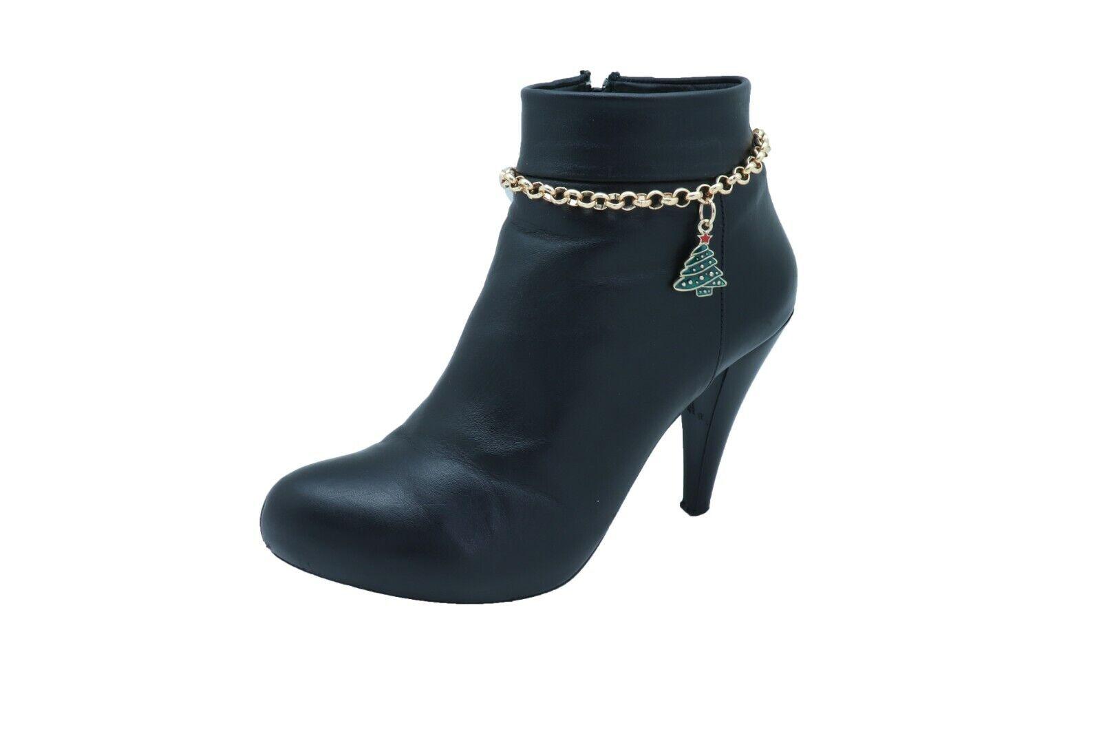 Women Gold Metal Western Boot Chain Bracelet Shoe Anklet Christmas Tree Charm