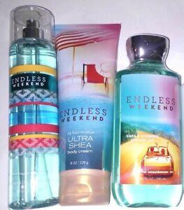 3-Pc-Bath-amp-Body-Works-Endless-Weekend-Shower-Gel-Cream-Fragrance-Mist-Set-NEW