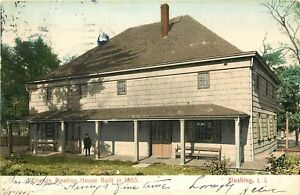 c1905-Postcard-Friends-Meeting-House-Flushing-Long-Island-NY-posted