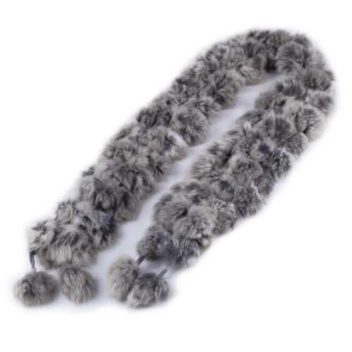 Women Warm Winter Genuine Rabbit Fur Ball Scarf Soft Long Scarves Wrap Shawl