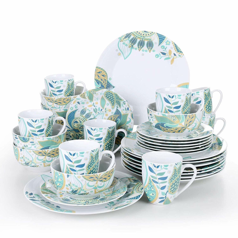 Floral 32 Pièce de porcelaine Lot de Céréales Bol Assiettes Tasse Vaisselle Ensemble salle à manger