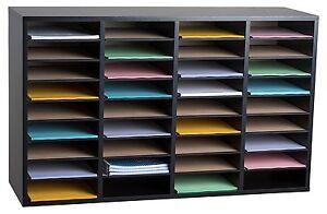 AdirOffice-Black-36-Compartment-Wood-Adjustable-Literature-Organizer-School