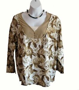 NEW Layered Look Floral Shirt Plus Size 3X 26W 28W Knit TOP Beige Henley Casual