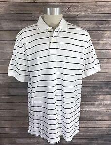 NEW Basic Editions Polo Shirt Mens Sz Large Navy Blue White Striped Short Sleeve