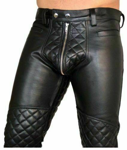 Men-039-s-Real-Leather-Pants-Double-Zips-Pants-Gay-BLUF-Breeches-Lederhosen-Jeans