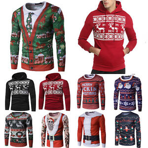 US-Men-039-s-Christmas-Hoodie-Sweatshirt-Xmas-Jumper-Sweater-Pullover-Tops-T-Shirts