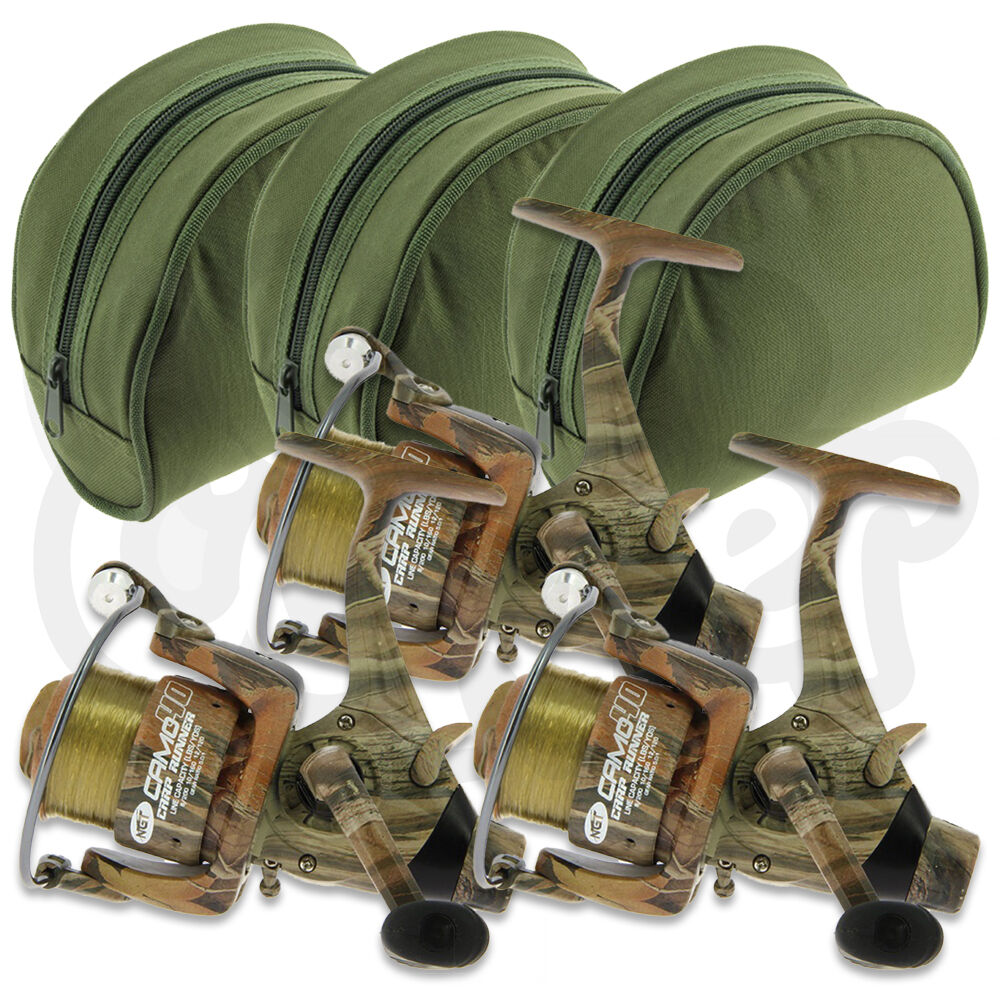 3 x NGT Camo40 Carp Runner 3BB Fishing Reel with 12lb Line + Spare Spool + Cases