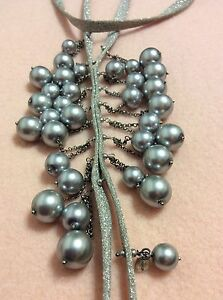 CHAN LUU Sterling Silver Faux Pearl Fringe Statement Necklace Silver Tone Long