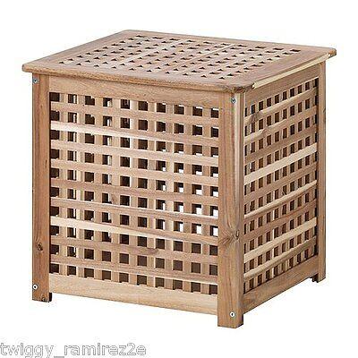 IKEA HOL TAVOLINO CONTENITORE ACACIA NATURALE 50 X 50 LEGNO MASSICCIO ETNICO
