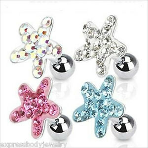 """1 PC 16g 1//4/"""" 6mm CZ Paved Cross Ear Cartilage Tragus Earring Stud Clear Or Pink"""