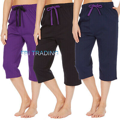 Herzhaft Womens Ladies Pyjama Capri Crop Shorts Lounge Pants Bottoms Trousers Beach Summ