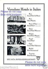 SATA Hotel Italien XL Reklame von 1929 de Russie Italia Quisisana Excelsior +