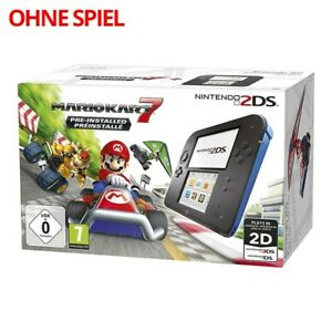 Nintendo-2DS-console-black-blue-Mario-Kart-7-power-supply-NO-game-boxed-MINT