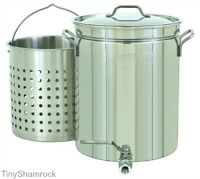 Crawfish Stock Pot Brewing Spigot Stainless Steel 10 Gallon Large Basket Cooker
