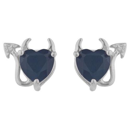 2 Ct Genuine Black Onyx /& Diamond Devil Heart Stud Earrings 14Kt White Gold